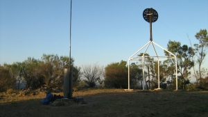 Mt Majura Trig.  7 metre squid pole supporting a 20/40m link dipole