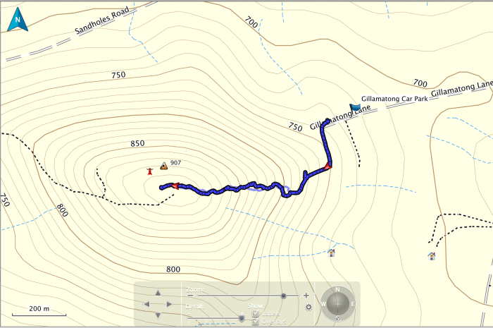 Mt Gillamatong GPS track log