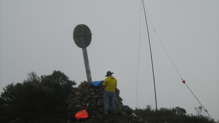Adan VK1FJAW operating an amateur radio sttion from Big Badja Trig