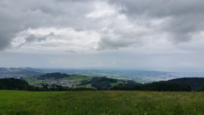 view west - storms moving across Lake Constance towards our position
